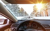 stock photo of slippery-roads  - Icy Road Winter Drive - JPG