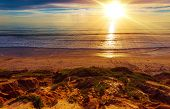 image of sunny beach  - Sunny California Beach. Beautiful Sunny Day on the Beach. Southern California Ocean Shore Landscape.