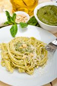 picture of pine nut  - Italian traditional basil pesto pasta ingredients parmesan cheese pine nuts extra virgin olive oil garlic on a rustic table - JPG