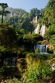 picture of waterfalls  - Thi Lo Su Waterfall is beautiful waterfall in thailand province Tak - JPG