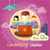 foto of coworkers  - Coworking center concept - JPG