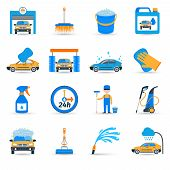 image of bristle brush  - Automatic carwash facilities innovative self service foaming brush unit equipment flat icons set abstract vector isolated illustration - JPG