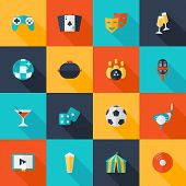 pic of dice  - Entertaining icons flat set with dice cocktail glass party ball isolated vector illustration - JPG