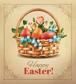 pic of easter lily  - Easter vintage card with basket and eggs - JPG