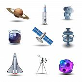 image of spaceman  - Space decorative icons set with asteroid spaceman helmet rocket isolated vector illustration - JPG