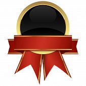 picture of gold medal  - gold seal of quality template with banner and ribbons - JPG