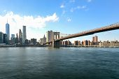 stock photo of brooklyn bridge  - New York City Skyline and the Brooklyn Bridge from Brooklyn Heights - JPG
