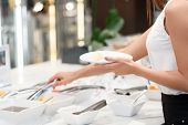 stock photo of tong  - Tasty and healthy meals at business buffet - JPG