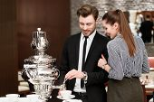 stock photo of buffet lunch  - Some tea to have a brake - JPG