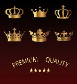 stock photo of queen crown  - Crown premium Icons Set  - JPG