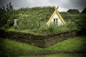 picture of iceland farm  - An old fashioned Icelandic house with a turf roof