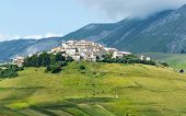 picture of plateau  - Piano Grande di Castelluccio (Perugia Umbria Italy) famous plateau in the natural park of Monti Sibillini. The old village
