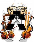 pic of orchestra  - Mascot Illustration Featuring Different Instruments Used in Orchestras - JPG