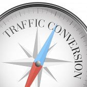picture of conversation  - detailed illustration of a compass with traffic conversion text - JPG