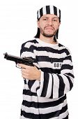 image of inmate  - Prison inmate with gun isolated on white - JPG