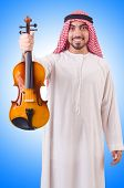 image of minstrel  - Arab man playing music on white - JPG