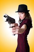 picture of handgun  - Woman gangster with handgun on white - JPG