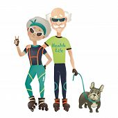 pic of old couple  - Cartoon active old couple - JPG