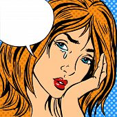 pic of cry  - Girl cry Pop art vintage comic Retro background - JPG