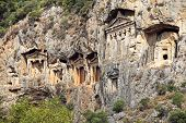 picture of dalyan  - Famous Lycian Tombs of ancient Caunos city Dalyan Turkey - JPG