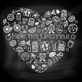 image of sign board  - Chalk board I love healthy lifestyle in the form of heart - JPG