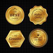 stock photo of golden  - Golden metal best choice premium quality badges set isolated vector illustration - JPG