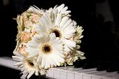 foto of gerbera daisy  - Colorful wedding bouquet with roses and gerbera daisy - JPG
