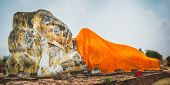 stock photo of recliner  - Giant Reclining Buddha in Wat Lokayasutharam - JPG