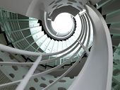 foto of spiral staircase  - modern glass spiral staircase with metallic hand - JPG