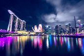 pic of singapore night  - Singapore city skyline at night - JPG