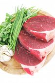 stock photo of wood pieces  - raw meat  - JPG