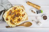 foto of cod  - Baked salted cod with cream Portuguese style dish - JPG