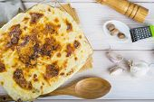 image of cod  - Baked salted cod with cream Portuguese style dish - JPG