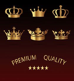 stock photo of princess crown  - Crown premium Icons Set  - JPG