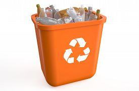 picture of recycle bin  - recycle bin with plastic bottles isolated on white background - JPG