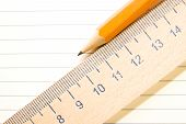 pic of memento  - Notepad with a recording sheet pencil and wooden ruler on the old tissue - JPG