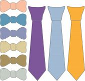 foto of tied  - collage ties and tie Butterfly in different colors on a white background - JPG