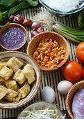image of scallion  - Vietnamese food bun rieu a famous dish of Vietnam raw material as tomato crab pork meat shrimp salad scallion egg vegetable shrimp paste bunrieu is Viet Nam special eating - JPG