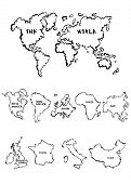 stock photo of continent  - Cartoon maps collection that include a world map a selection of continents and countries - JPG