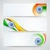 picture of indian independence day  - Glossy website header or banner set with Ashoka Wheel and national flag color waves for Indian Independence Day celebration - JPG