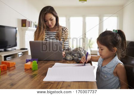 Mother Works On Laptop As
