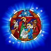 Circle stained glass with the Christmas and Adoration of the Magi scene in blue shining. Vector illu poster