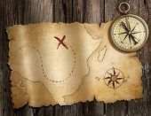 old nautical compass on wood table with treasure map poster