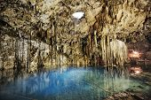 picture of cenote  - mayan sacrifice cenote of dzitnup in yucatan mexico - JPG