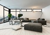 Modern designer living room interior with panoramic glass windows overlooking a vista of mountain pe poster
