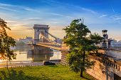 Budapest Chain Bridge And City Skyline When Sunrise, Budapest, Hungary poster