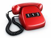 Постер, плакат: 3D рендеринг старый Винтаж Телефон с тремя большими кнопками сказав 112 номер службы экстренной помощи в евро