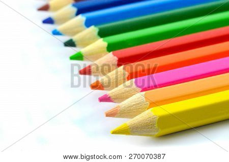 Crayons Isolated Color Pencils Or
