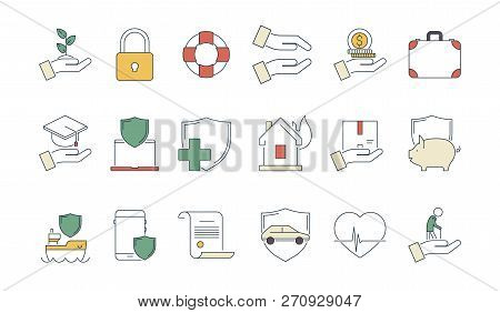 poster of Business Protection Icon. Life Protection Safety Money Insurance Liabilities Caring Medicine Health