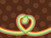 Retro Pop Rainbow Line Loopy Heart And Polka Dots (Vector)